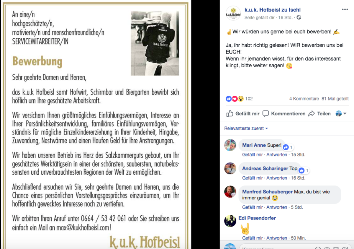 Stellenausschreibung der etwas anderen Art vom k.u.k. Hofbeisl in Bad Ischl.