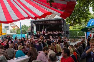 Vor zahlreichen Gästen umrahmte die Trachtenmusikkapelle Bad Wimsbach-Neydharting den Frühschoppen an diesem Drei-Tages-Fest.