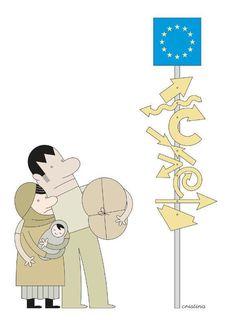 """In der Cartoon-Ausstellung """"Cartooning for Peace"""" werden Flucht und Menschenrechte thematisiert."""