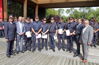 Ehrung der Lebensretter Gottfried Gratzl und Günter Kroboth vom Polizeiposten Strem sowie weiterer heldenhafter Polizisten.