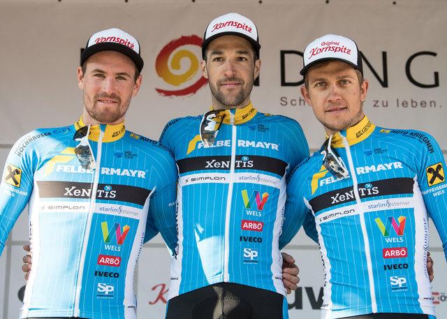 v.l. Stephan Rabitsch (AUT, Team Felbermayr Simplon Wels), Sieger Markus Eibegger (AUT, Team Felbermayr Simplon Wels), Riccardo Zoidl (AUT, Team Felbermayr Simplon Wels)