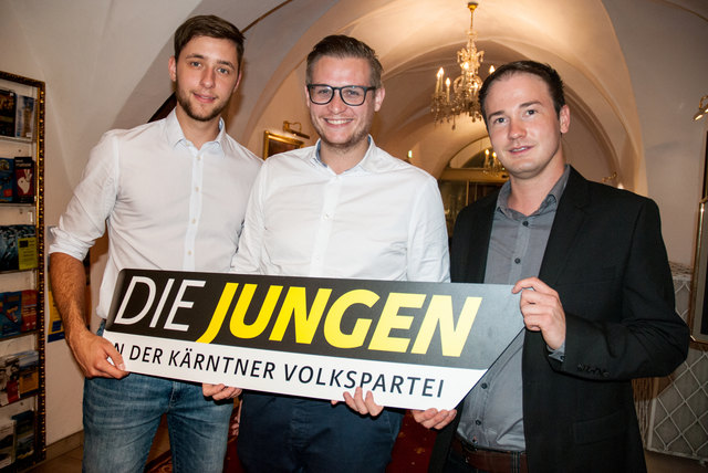 Mit dabei waren: der vorherige Bezirksobmann Nino de Roja, Julian Geier, Landesobmann der JVP Kärnten und Fabian Hauf