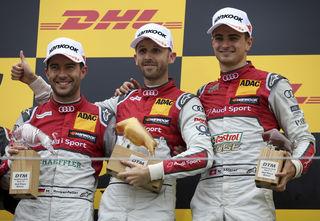 Triplesieg für Audi: Mike Rockenfeller (2.), Sieger Rene Rast und Nico Müller (3.).