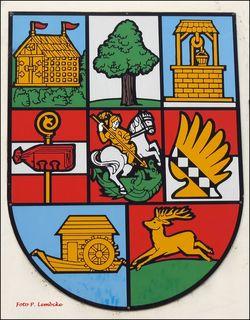 Hier sind die 8 Wappen der Bezirksteile von Donaustadt. Links oben Stadlau, danach Aspern und Süßenbrunn.In der Mitte Breitenlee, Kagran und Essling. Unten Kaisermühlen und Hirschstetten.