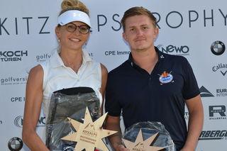 Bruttosiegerin Natascha Segner mit dem Brutto-Gesamtsieger 2018, Christoph Kogl.