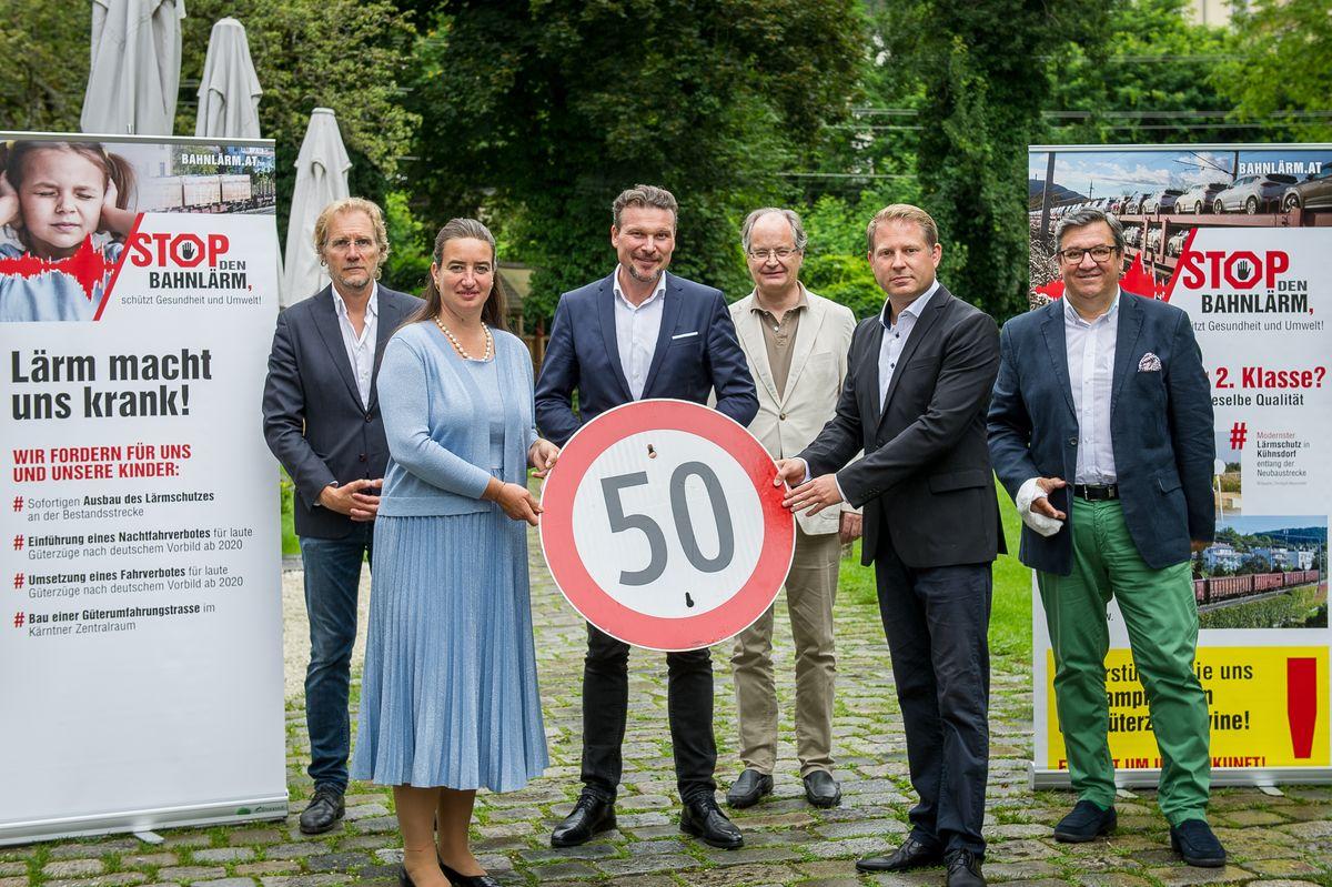 Kämpfen weiter gegen den Bahnlärm: Christoph Neuscheller, Silvia Häusl-Benz, Wolfgang Germ, Peter Unterluggauer, Markus Steindl, Klaus-Jürgen Jandl.
