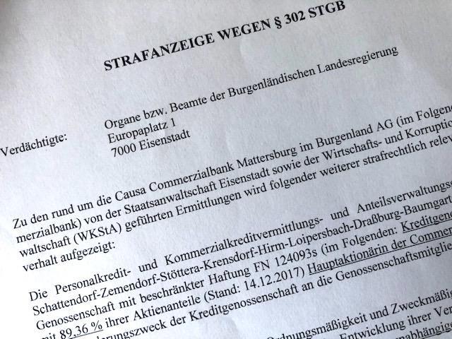 Commerzialbank Mattersburg: Anonyme Anzeige gegen Beamte der
