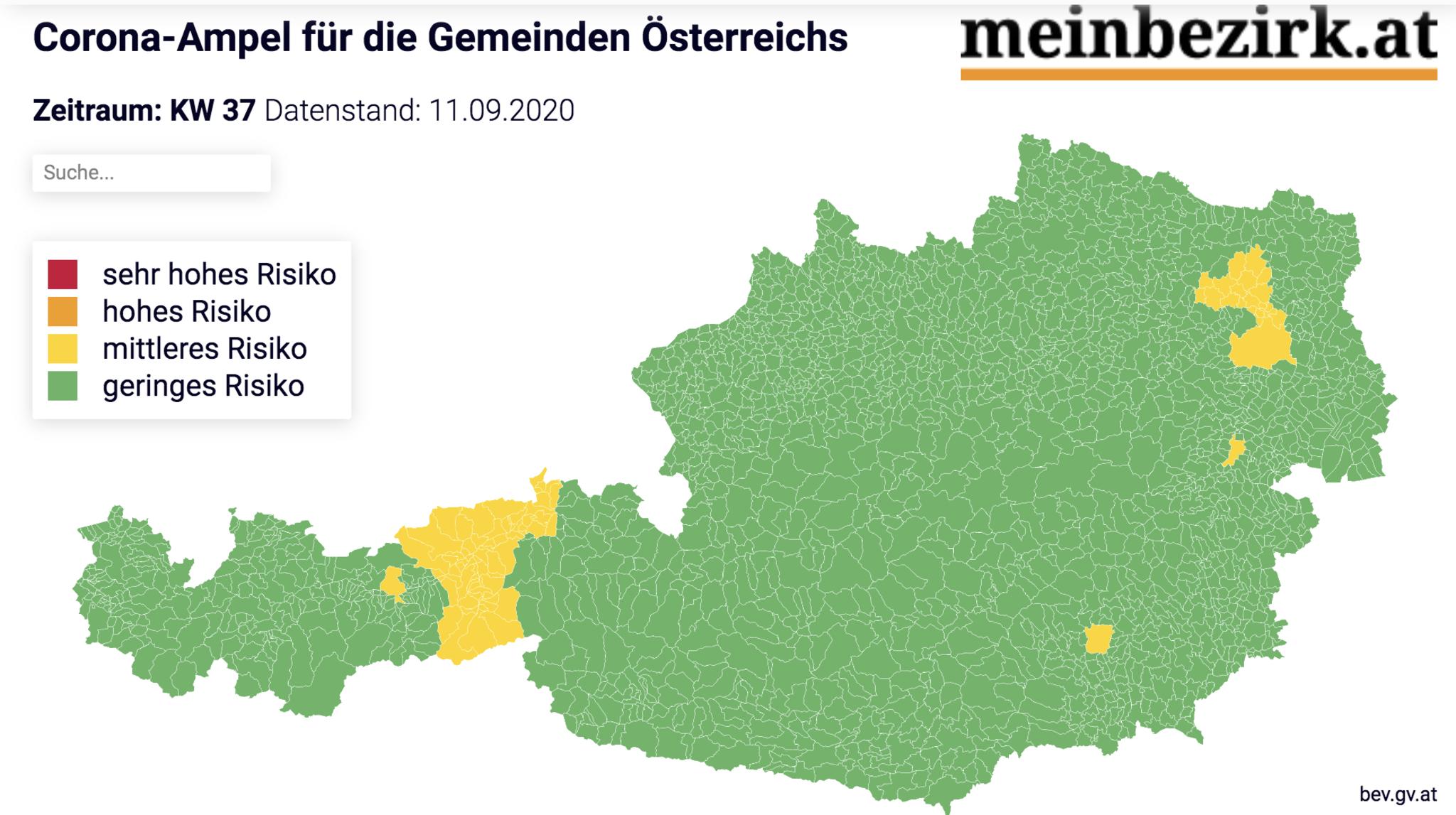 Diese Bezirke In Osterreich Sind Rot Die Corona Ampel Als Online Karte Mit Suchfunktion Fur Die Coronavirus Lage Deinem Bezirk