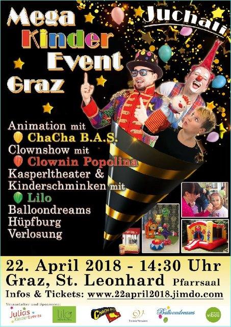 Juchali - Das Mega-Kinder-Event in Graz am 22.4.2018