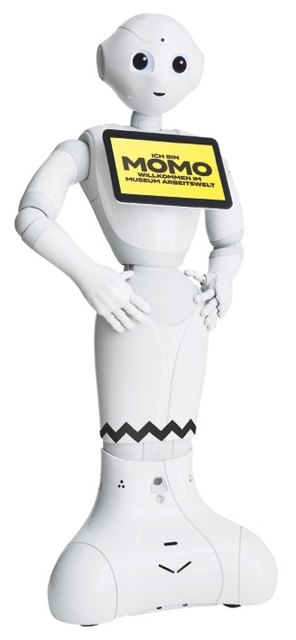 "Der humanoide Roboter ""Pepper"" arbeitet im Museum Arbeitswelt: ab 3. Mai 2018."