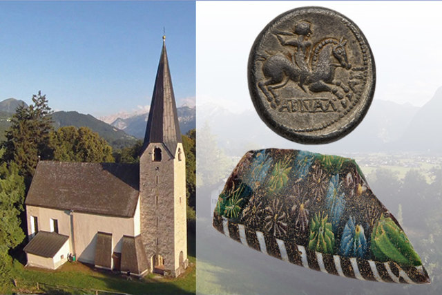 Keltische Münze und römische Millefiorischale aus Glas gefunden bei Georgenberg.