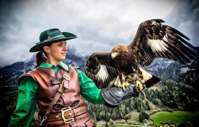 Ein faszinierendes Ereignis ist das Programm der Falkner auf der Burg Hohenwerfen
