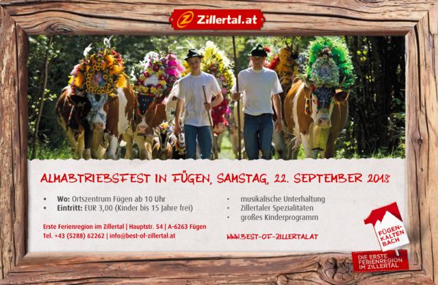 Almabtriebsfest in Fügen  Samstag, 22. September 2018