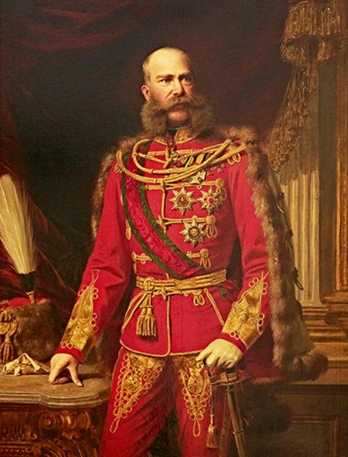 Gemälde von Josef Kis (1833-1900) Franz Joseph I. in ungarischer Galauniform Öl auf Leinwand/ um 1867 / 70